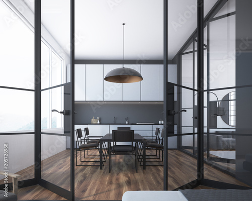 White And Gray Dining Room Glass Door