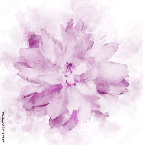 Fotobehang Lilac Watercolor fresh flower painting