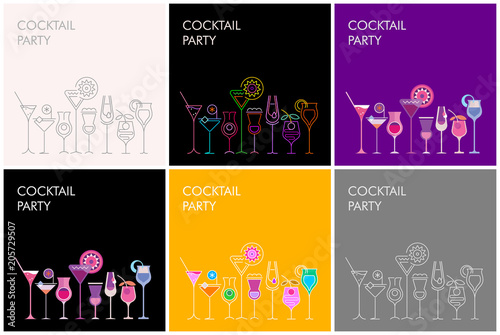 La pose en embrasure Art abstrait Cocktail Party vector banners