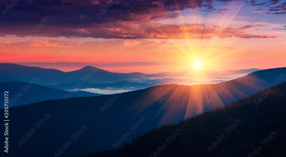 Fototapety, obrazy: Panoramic view of colorful sunrise in mountains. Concept of the awakening wildlife, romance,emotional experience in your soul, joy in mundane life.