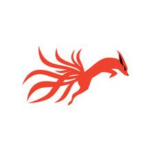 Nine Tails Fox Logo Vector Ico...