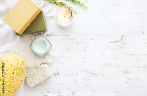 Sea sponge,soap and bath accessories Fotobehang