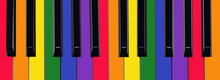 Piano Keyboard Painted In Colo...