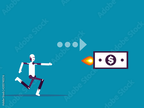 Robot and benefit  Vector illustration business concept