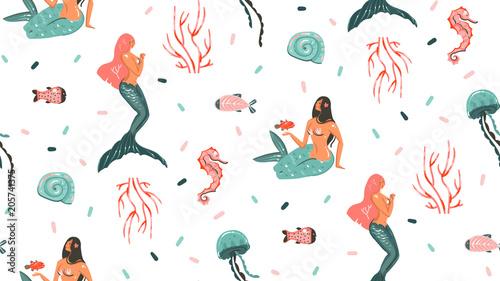 Materiał do szycia Ręka ciągnione wektor kreskówka Abstrakcja graficzny czas letni podwodne ilustracje bezszwowe wzór z meduzy, ryby i piękno czeskiego syrenka dziewczyny znaki na białym tle na białym tle