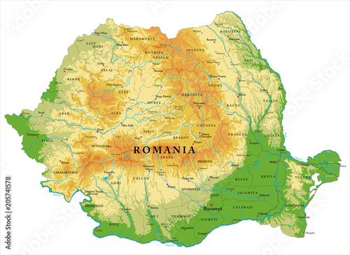 Obraz na plátně Romania relief map