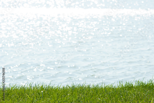 Valokuva summer lakeside background, focus on turf grass and blur waves