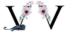 Floral Watercolor Alphabet. Monogram Initial Letter V Design With Hand Drawn Peony And Anemone Flower  And Black Panther