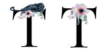 Floral Watercolor Alphabet. M...