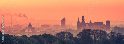Keuken foto achterwand Krakau Krakow Old Town in early morning
