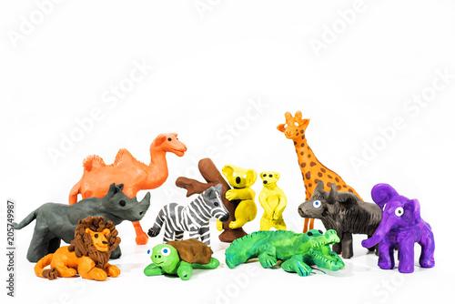 Fototapeta Play Clay World. Figures made from plasticine. Wild nature. obraz na płótnie