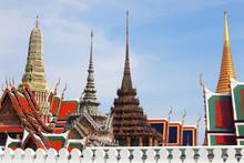 """wat Pra Kaew"" Thai Royal Grand Palace Building Against Blue Sky."