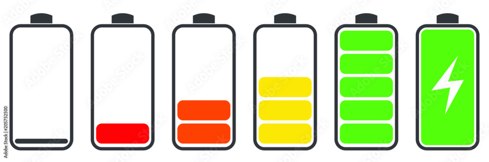 Fototapeta Battery charge indicator icons, vector graphics