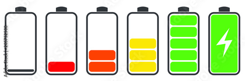 Battery charge indicator icons, vector graphics Fotobehang