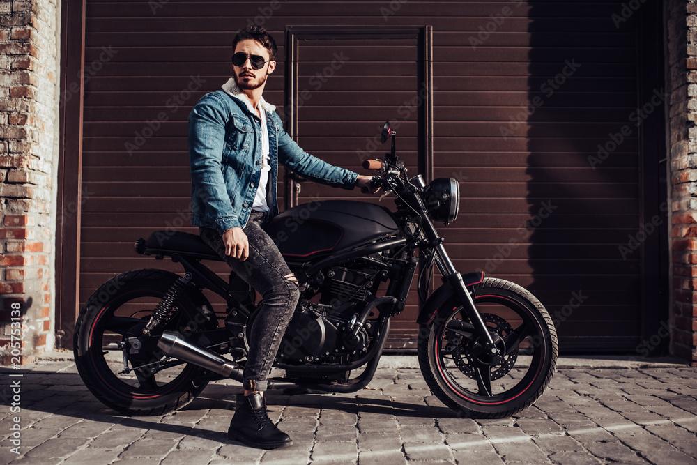 Fototapeta Biker with modern motorcycle