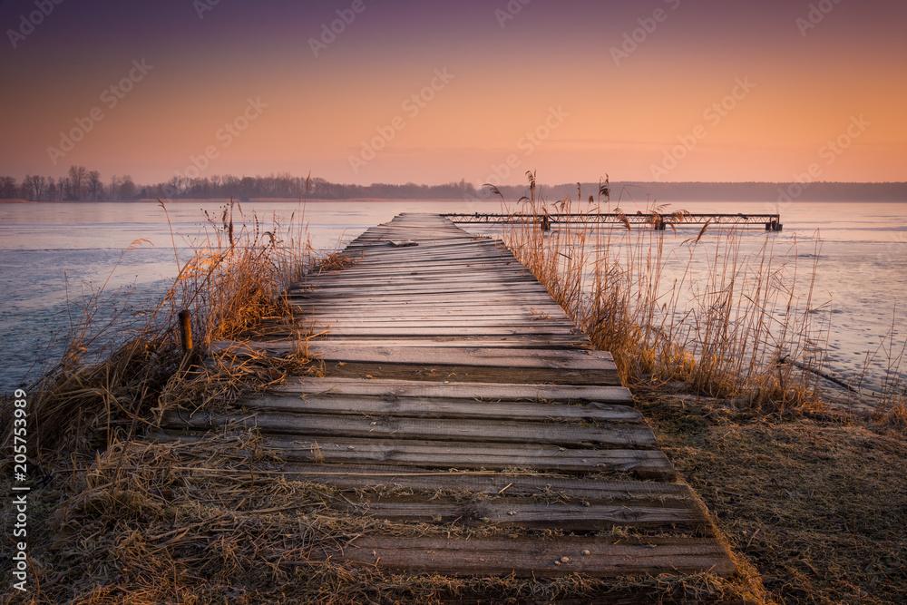 Fototapeta Bridge over the Sumin lake, lubelskie.