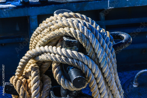 Mooring Lines, Ship Ropes  Secured mooring line / mooring