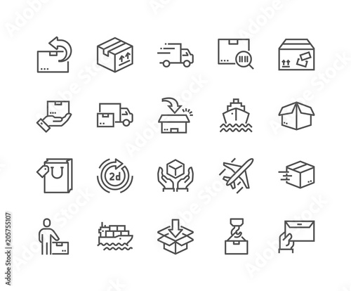 Line Delivery Icons Wall mural