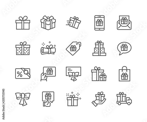 Photo  Line Gifts Icons