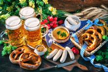 Bavarian Sausages With Pretzel...