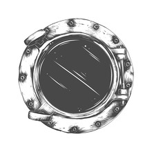 Vector Illustration Of Metal Porthole With  Glass Isolated On White Background. Rivets Mount