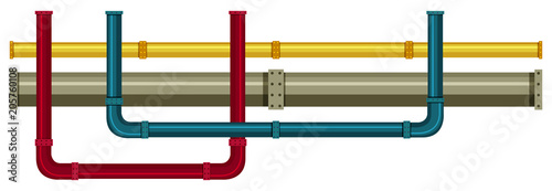 Fotografia  Underground Pipe on White Background