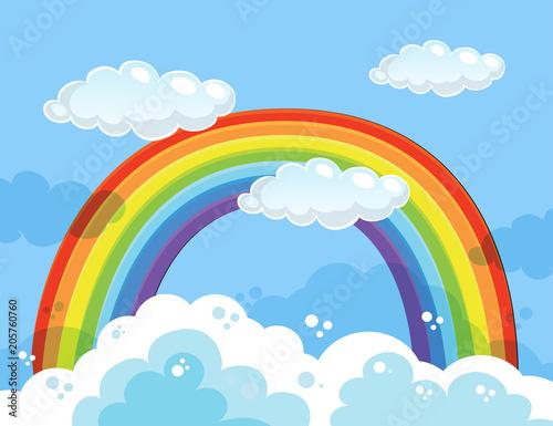 Papiers peints Jeunes enfants A Beautiful Rainbow Over the Sky