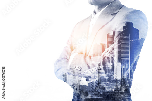 Double exposure of a Businessman wearing suit and a modern city  building of Asi Poster Mural XXL