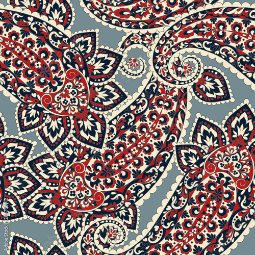 Cotton fabric Seamless Paisley pattern.