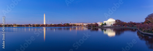 Wall Murals Historical buildings Jeffeerson Memorial and Washington Monument reflected on Tidal Basin in the evening, Washington DC, USA. Panoramic image