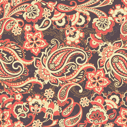 Cotton fabric Floral seamless paisley pattern