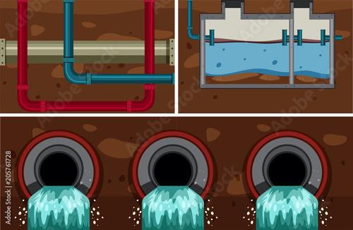 Papiers peints Jeunes enfants Underground Water Sewer Pipe System