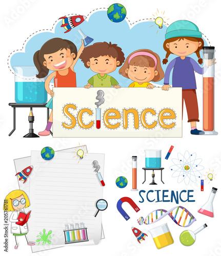 Papiers peints Jeunes enfants Science Banner Element and Students