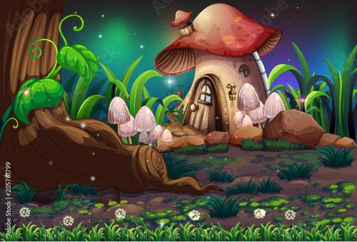 Papiers peints Jeunes enfants A Dark Forest and Mushroom House