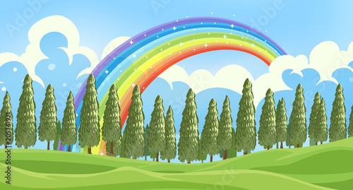 Papiers peints Jeunes enfants A Beautiful Green Forest Landscape
