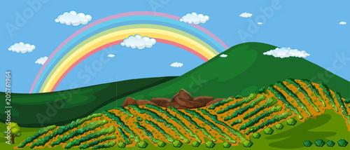 Papiers peints Jeunes enfants Beautiful Farm Mountain and Rainbow