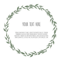 Vector Bay Leaves Wreath. Template For Wedding Invitation And Save The Date Cards.