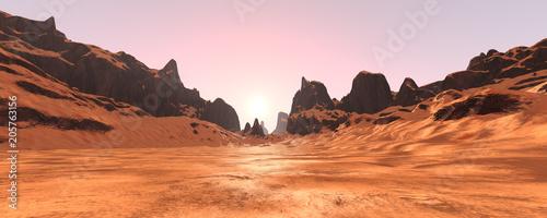 3D Rendering Canyon Valley Fototapeta