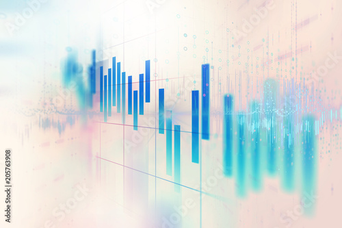 Photo  stock market investment graph with indicator and volume data.