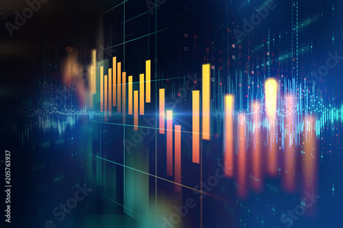 stock market investment graph with indicator and volume data. Canvas Print