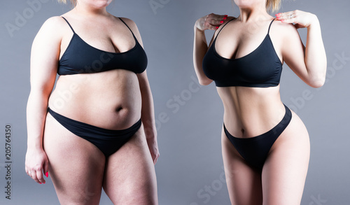 Woman's body before and after weight loss Canvas Print
