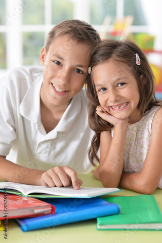 Brother and sister doing homework Poster