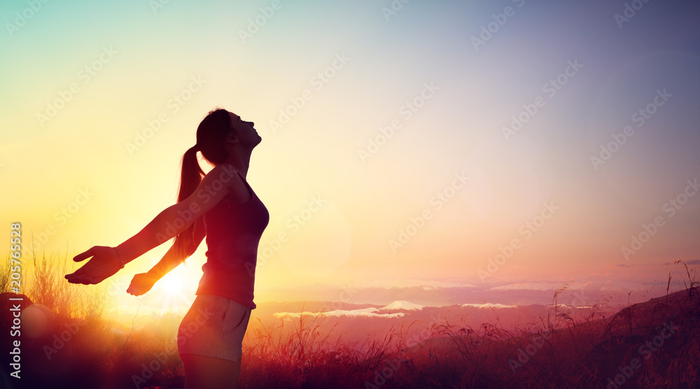 Fototapety, obrazy: Freedom And Healthy Concept - Beautiful Young Girl Against Sunset