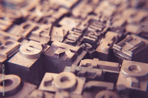 Foto op Plexiglas Retro old metal letters