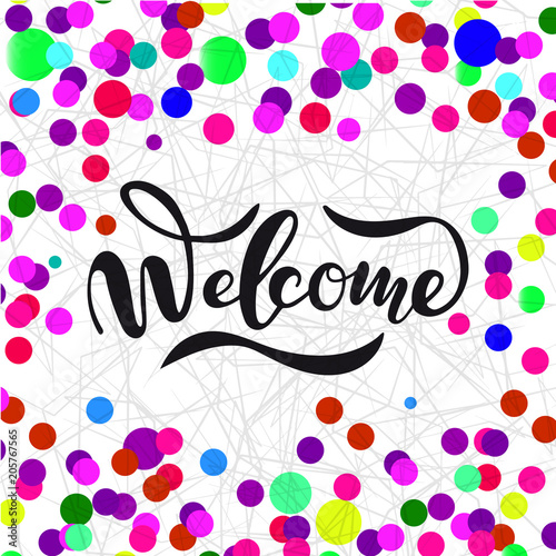 Photo  Vector illustration of Welcome  with the inscription for packing