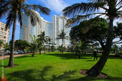 Photo Hotel building on Durban's Golden Mile beachfront with palm trees, KwaZulu-Nat