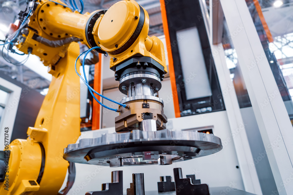 Fototapeta Robotic Arm modern industrial technology. Automated production cell.