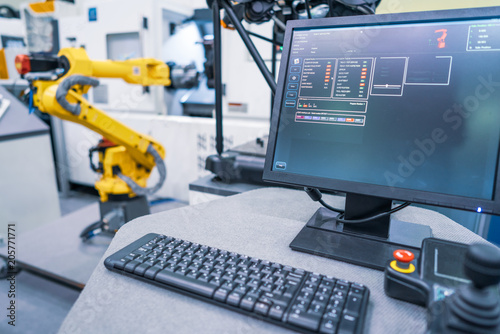 Fotografering  Robotic Arm modern industrial technology