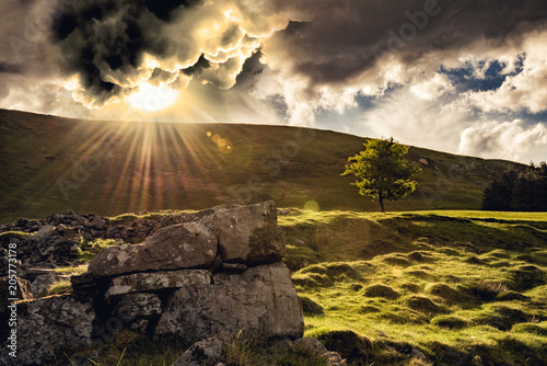 Tablou Canvas Let there be light, a dramatic sunset on a mountain in South Wales