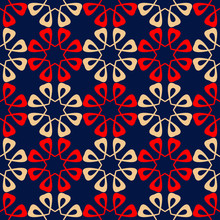 Blue Floral Seamless Background With Red And Beige Pattern